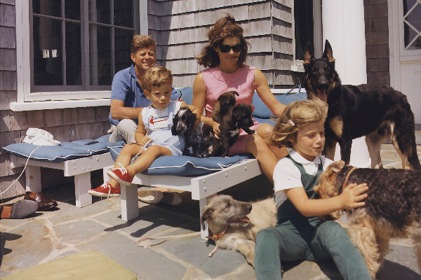 The Kennedy family with dogs during a weekend getaway.