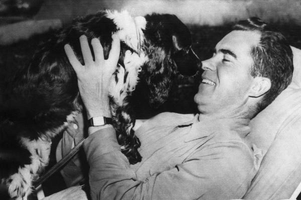 Richard Nixon. Senator and Vice presidential candidate (and future US President) Richard Nixon with his dog, Checkers, 1952.