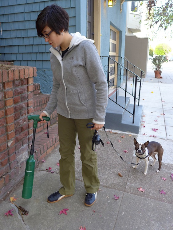 A dog owner users an Auggie Dog to pick up dog poop.