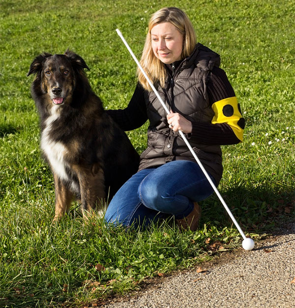 Blind woman on grass with guide dog by Shutterstock.