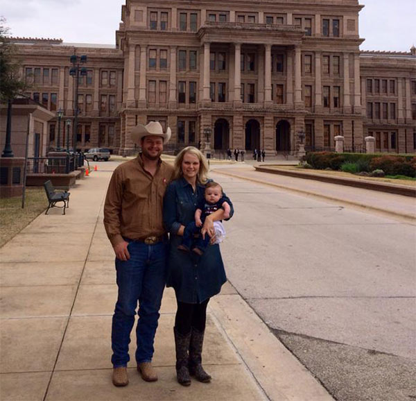 Cole Middleton and family in front of the Texas Capitol. (Via Facebook)