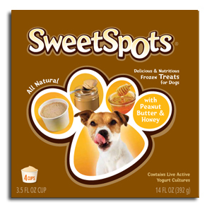 Sweet Spots frozen treats for dogs.