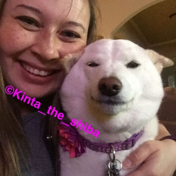 Courtesy of Michelle Proctor Michelle Proctor and her dog daughter Kinta get a Mother's Day photo for Facebook and Instagram.