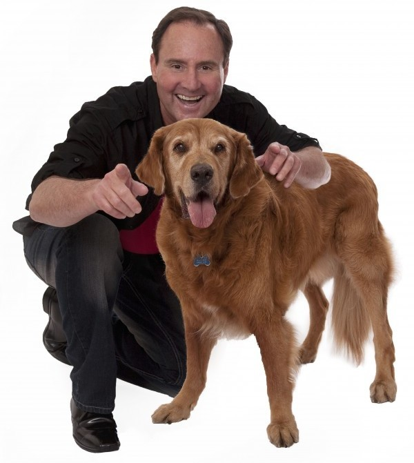 Filmmaker Larry Kay with Higgins, the Golden Retriever who changed Larry's life. (Photo courtesy of Larry Kay)