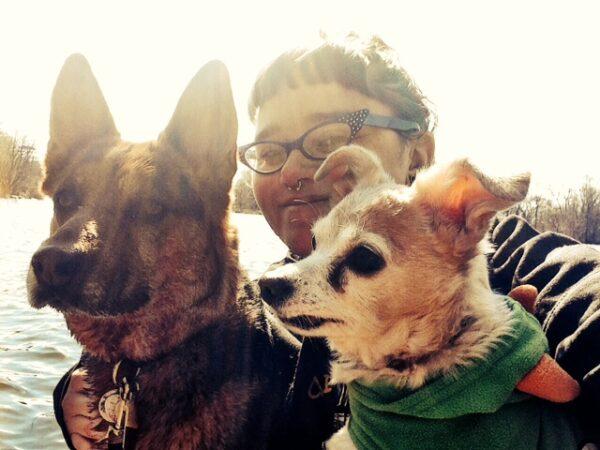 Charlotte, me, and Mercury. (Photo courtesy Sassafras Lowrey)