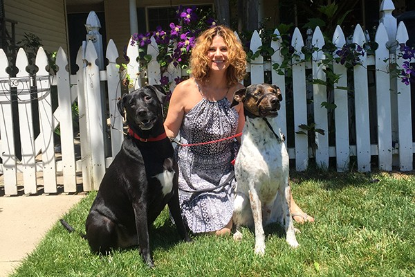 NMPGA Founder Amy Yates and her dogs, Harry and Ticker.