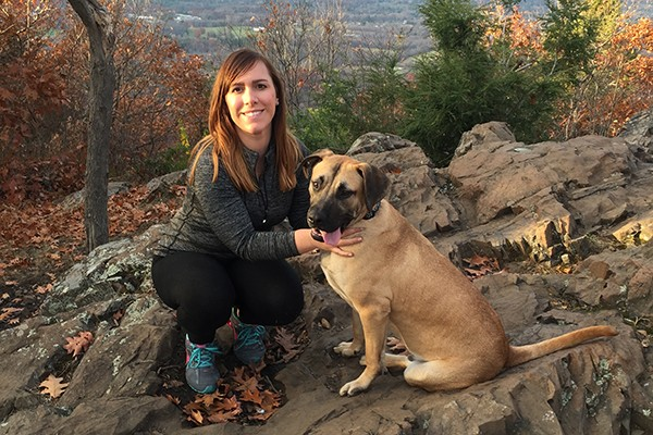 NMPGA Volunteer Ashleigh Oiumette and her Clayton pup, Max.