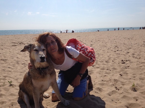 Fargo and I during our last beach trip together. (Photo courtesy Chris Corrigan Mendez)