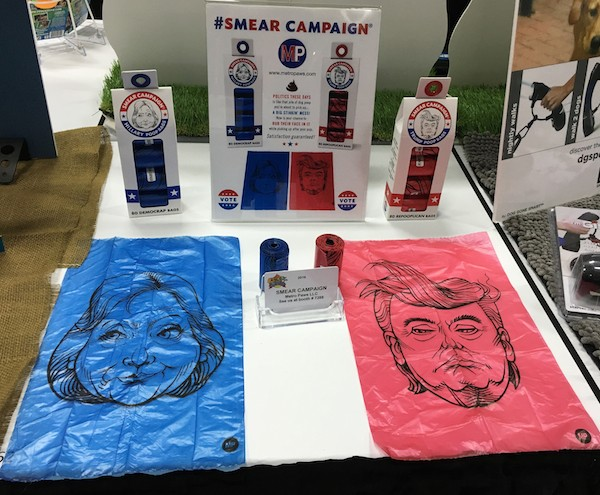 Hilary and Trump poop bags. (Photo by Melissa L. Kauffman)