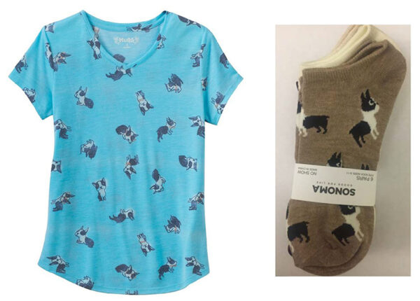 Kohl's t-shirt and pair of socks with dogs on them.
