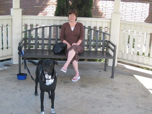 Riggins and his Grandma hang out in front of the hospital where Riggins' human cousin was born. (Picture by Wendy Newell)