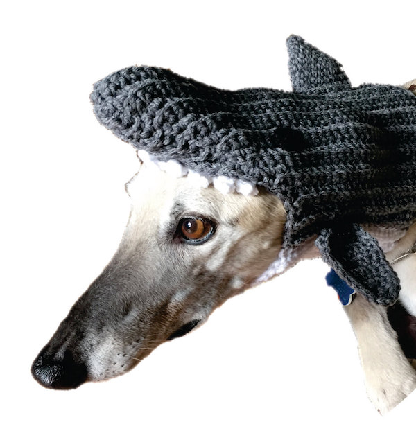 Crocheted shark hat by CrochetYourGrey.