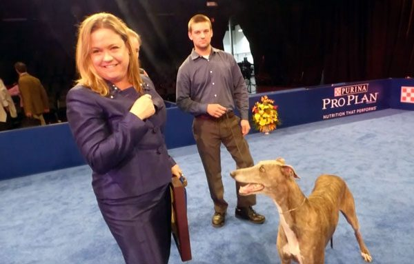 Breeder/Owner-Handler Rindi Gaudet and her Greyhound Gia, after winning Best in Show.