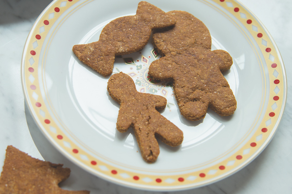 Gingerbread cookies for dogs and humans.