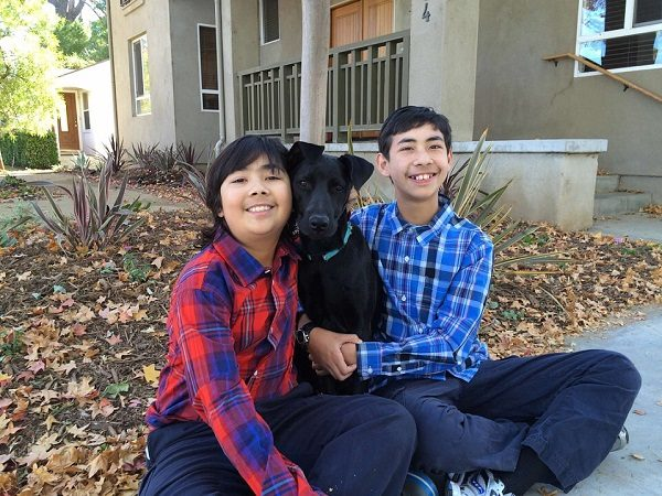 Coco a lab mix hangs out with her two human brothers whose family was considered unfit by one rescue group. (Photo by Annmarie Levitt.)