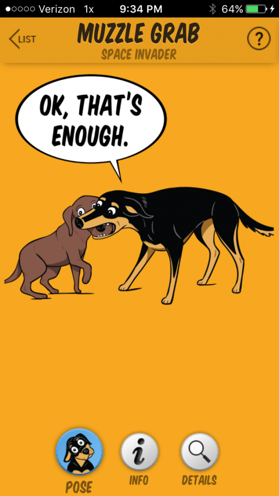 The muzzle grab. (Image from the Dog Decoder smartphone app/illustration by Lili Chin)