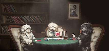 Dogs playing poker by Tracy Ellis.