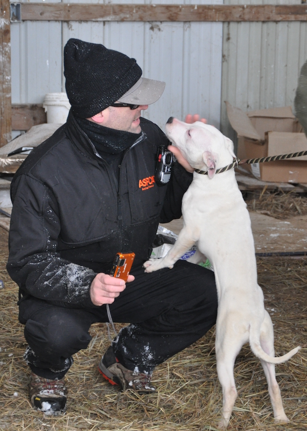 ASPCA President and CEO Matt Bershadker on location at a dog fighting raid in Missouri. (Photo courtesy ASPCA)
