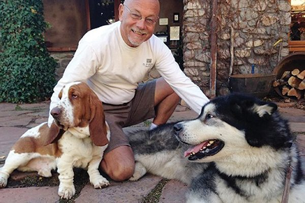 El Portal owner Steve Segner and canine friends.
