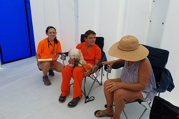 Dr. May-li Cuypers, center, a volunteer with the UF VETS disaster response team, listens to a dog owner explain its condition during the team's deployment in Key West.