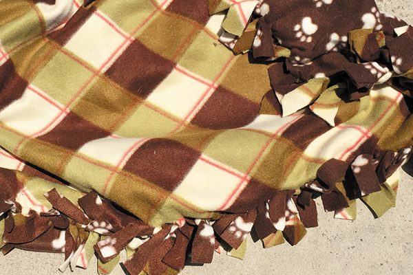 Making a fallsy fleece blanket for your dog is easy!