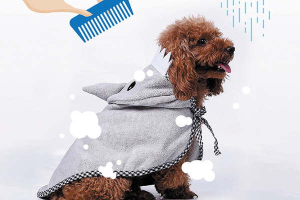 Puff Puff Paws shark bathrobe for dogs.