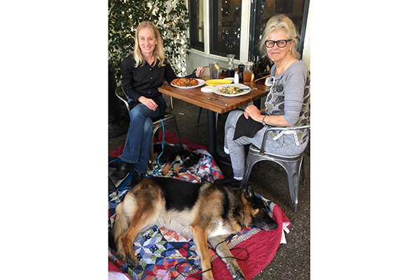 Anja and her sire, Dante, join me and Deborah Stern for outdoor dining.