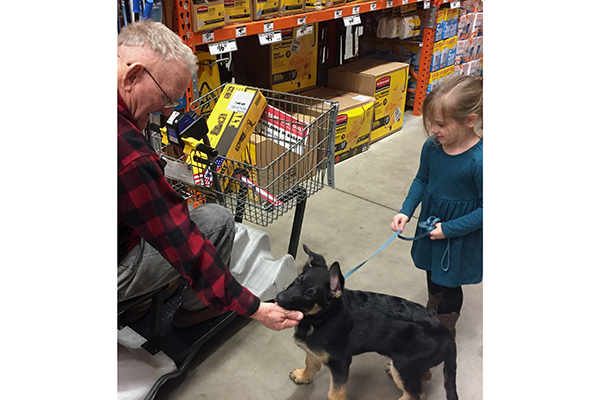 My granddaughter takes the lead as Anja meets new people.