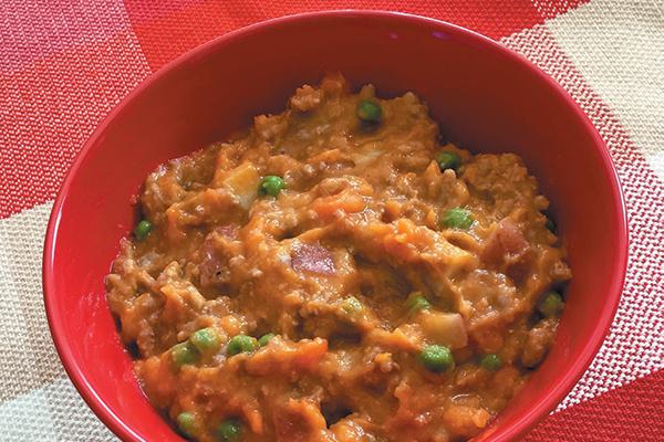 Dog-friendly Savory Stew with Roasted Veggies.