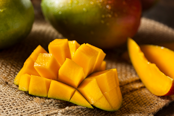 A sliced or cut up mango.