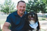 Jim Scano and his rescue dog, Tundra.
