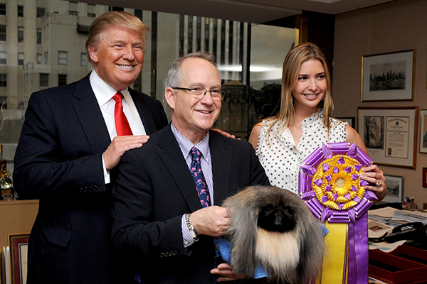 Donald Trump and the Westminster Kennel Club winner in 2015.