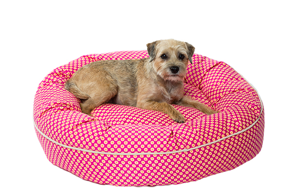 The Pink Follard Pattern Nesting Bed from Canine Styles.