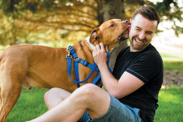 A dog joyfully licking a man.