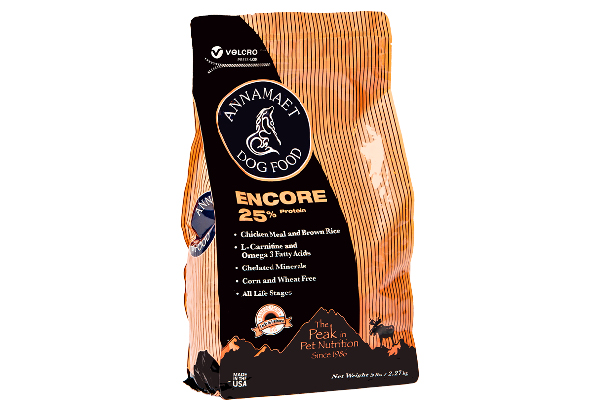 Encore Forumla – Dogs, Annamaet Pet Foods (prices vary by retailer). annamaet.com http://www.annamaet.com/products/Encore_Formula
