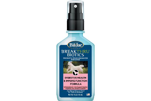 Bil-Jac BreakThru® Biotics Probiotic Food Spray for Dogs.