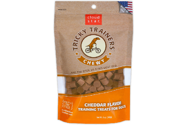 Chewy Tricky Trainers Dog Treats: Cheddar, Cloud Star (prices vary by retailer). cloudstar.com
