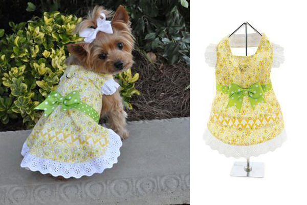 EMILY YELLOW FLORAL AND LACE DOG DRESS WITH MATCHING LEASH, FunnyFur ($28). funnyfur.com