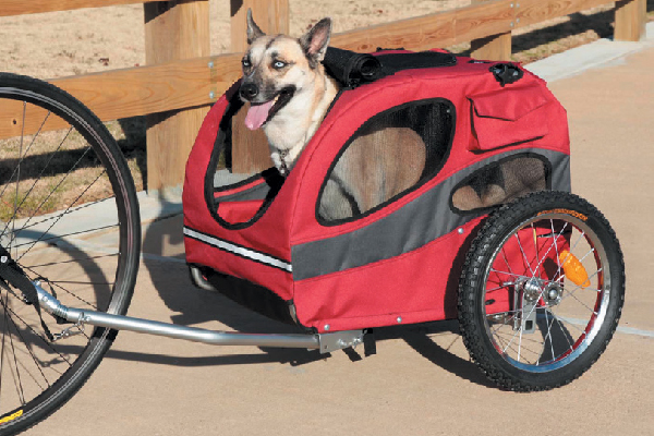 Head over to petsafe.com to find the Houndabout Bicycle Trailer.