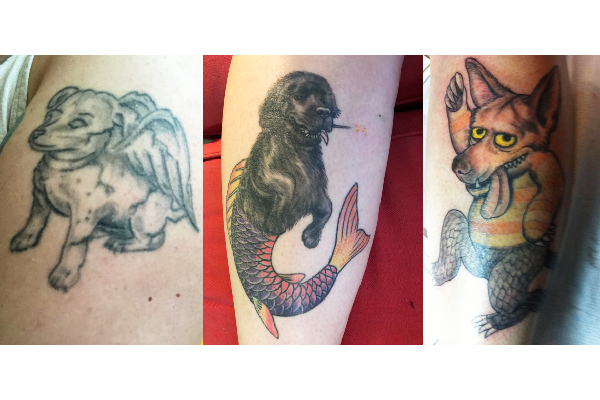 The author Sassafras Lowrey's dog tattoos. As she says — don't be afraid to go big with your dog tattoos.