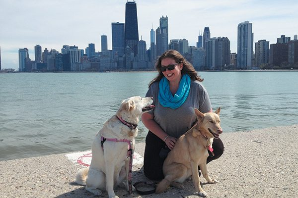 Lisa Linke with her dog's Wrigley and Zoey. Photography Courtesy Lisa Linke.