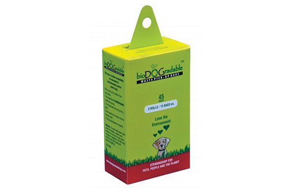 bioDOGradable waste pick-up bags.