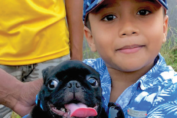 This young boy's Pug was vaccinated, and the boy given a Mission Rabies wristband.