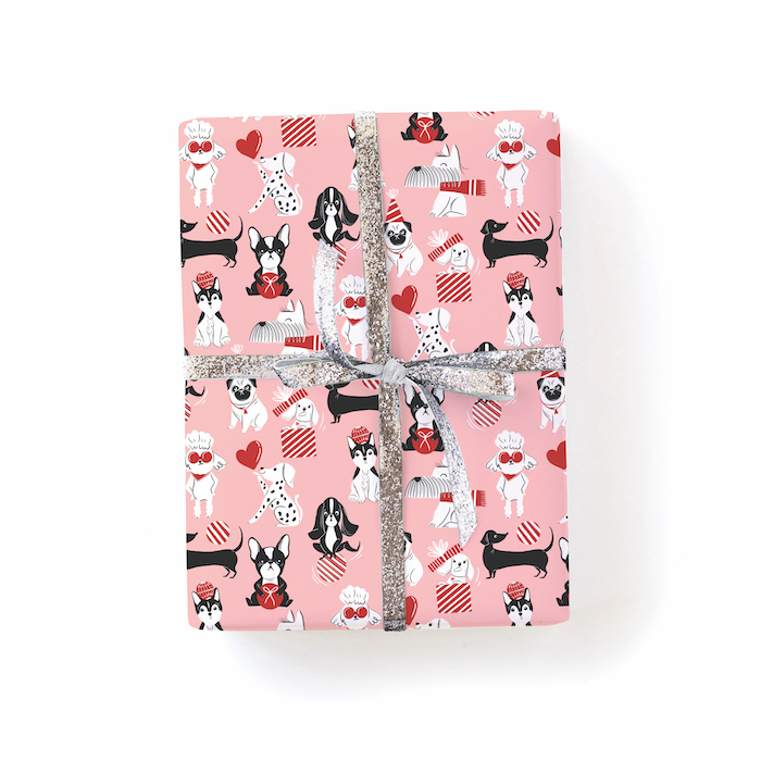 dog holiday cards, dog wrapping paper